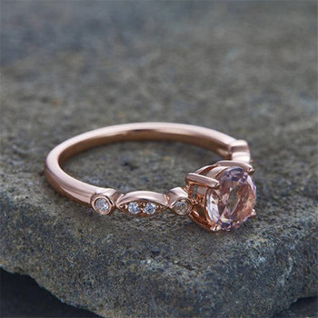 Morganite Engagement Ring Rose Gold Plated Wedding Band 6.5mm Round Cut Bridal Ring