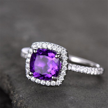 Amethyst Engagement Ring 6.5mm Cushion Cut  Wedding Band Promise Anniversary Ring