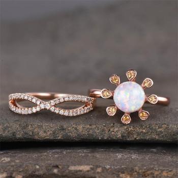 Opal Ring Engagement Ring Set Rose Gold Plated Wedding Ring Bridal Ring