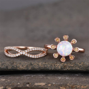 Opal Ring Engagement Ring Set Rose Gold Plated Wedding Ring Bridal Ring