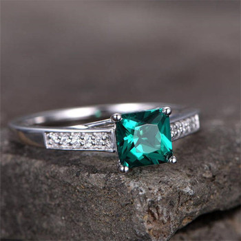 5.5mm Princess Cut Emerald Engagement Ring  Wedding Band  Silver Promise Ring