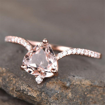 Morganite Engagement Ring Heart Shaped Unique Wedding Band Romantic Gift Bridal Ring