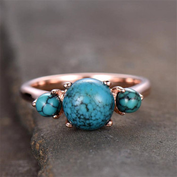 Turquoise Ring 3 Stone Engagement Ring Plain Gold Band 7.5mm Round Cut Wedding Ring
