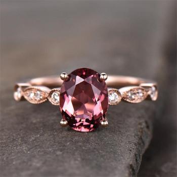 Pink   Tourmaline Engagement Ring  Oval Cut Art Deco Wedding Band