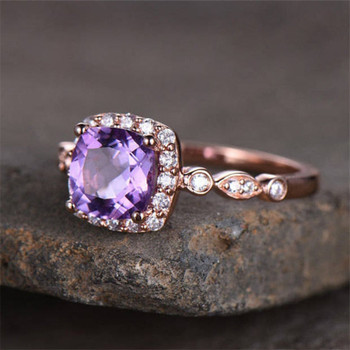 6.5mm Cushion Cut Purple Amethyst Engagement Ring CZ Wedding Ring
