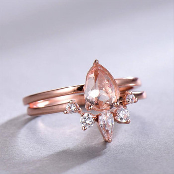 Morganite Bridal Set 6*8mm Oval Solitaire Engagement Ring Crown Wedding Band