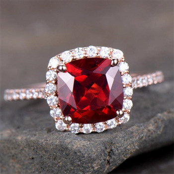 Garnet Engagement Ring 8mm Cushion Cut Promise Ring  CZ Ring Bridal Ring