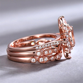 Morganite Ring Set Engagement Ring 6x8mm Oval Cut Wedding Ring
