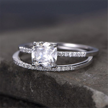 Cushoin Cut White Topaz Engagement Ring CZ Wedding Ring Promise Ring