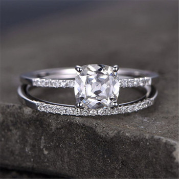 Cushoin Cut White Topaz Engagement Ring CZ Wedding Ring Promise Ring