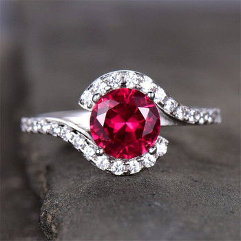 Ruby Engagement Ring 6.5mm Round Cut White Gold Plated CZ Diamond Band
