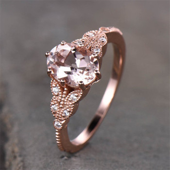 ose Gold Morganite Ring Oval Cut Engagement Ring Silver Rings Bridal