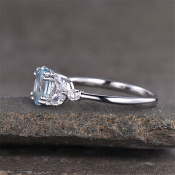 Oval Aquamarine Ring  Engagement Ring Sterling Silver Bridal Ring Wedding Ring