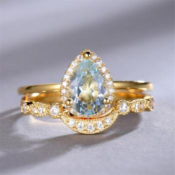 Aquamarine Engagement Ring Set 6x8mm Pear Cut  Plain Gold Band Wedding Ring