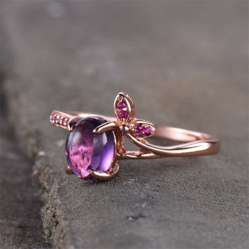 6*8mm Oval Cut Purple Amethyst Engagement Ring Rose Gold Plated Ruby Ring