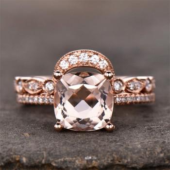 8mm Cushion Morganite Ring Set  Wedding Band Half Eternity CZ Ring