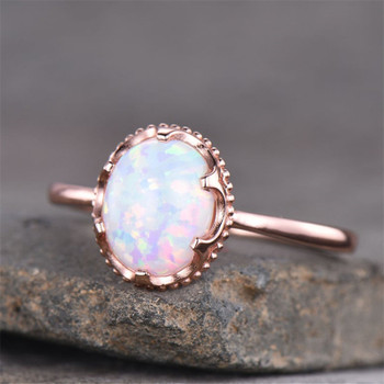Sterling Silver White Opal Gemstone Ring  Birthstone Engagement Ring Solitaire Ring