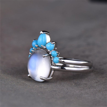 Sterling Silver Ring Moonstone and Turquoise Wedding Set Rainbow Moonstone Bridal Ring