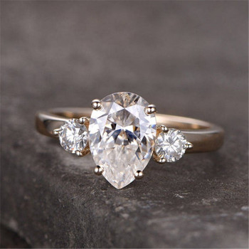 Sterling Silver Ring Pear Shaped White Synthetic Engagement Ring CZ Wedding Ring