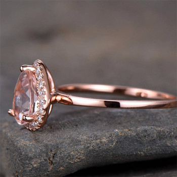 6*8mm Pear Cut Morganite Engagement Ring Rose Gold Plated Plain Gold Band