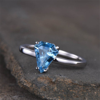 Blue Topaz Engagement Ring Simple Ring Sterling Silver Wedding Ring