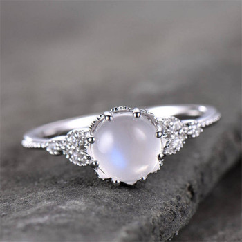 Moonstone Ring Engagement Ring Vintage Floral Ring CZ Wedding Band Bridal Ring