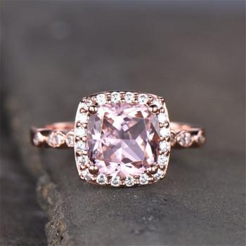 Morganite Engagement Ring Cushion Gemstone Ring Stackable Ring Rose Gold Wedding Ring