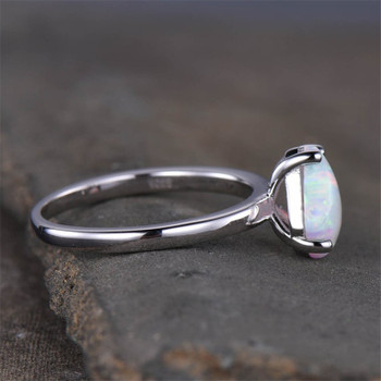 Dainty Opal Ring Unique Shaped Opal Ring Solitaire Ring Sterling Silver Rings