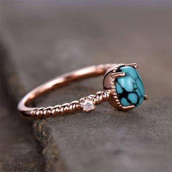 5*7mm Oval Turquoise Engagement Ring Vintage Solitaire CZ Ring Twist Wedding Band