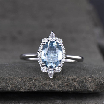 Aquamarine Ring Solitaire March Birthstone Oval Shaped Engagement Ring Wedding Ring