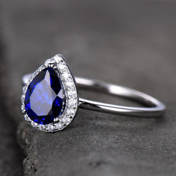 6*8mm Pear Cut Sapphire Engagement Ring Plain White Gold Band Bridal Ring