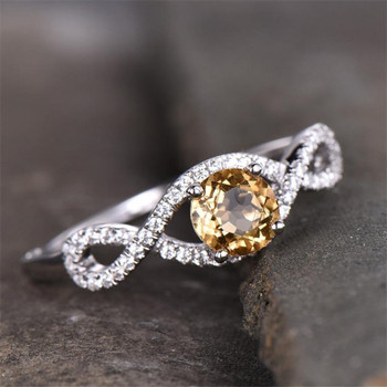 Citrine Ring November Birthstone Jewelry Sterling Silver Ring Genunie Gemstone CZ Ring