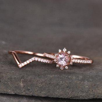 Pink Morganite Ring Set Rose Gold Plated Round Cut Wedding Band Aniversary Gift