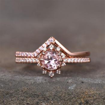 Pink Morganite Ring Set Rose Gold Plated Round Cut Wedding Band Aniversary Gift