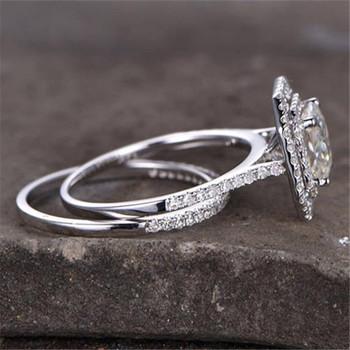 Sterling Silver Ring Set Princess Cut Zircon Engagement Ring Wedding Ring