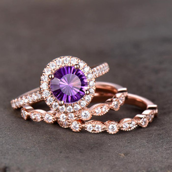 Amethyst Engagement Ring Art Deco Wedding Band 7mm Round Purple Bridal Ring