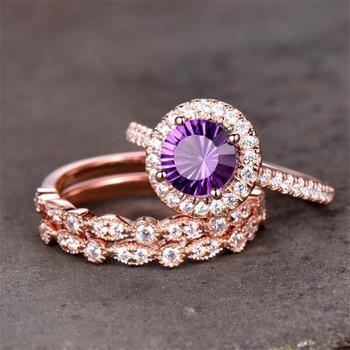 Amethyst Engagement Ring Art Deco Wedding Band 7mm Round Purple Bridal Ring