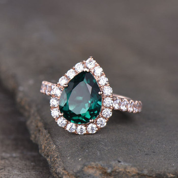 Emerald Ring Rose Gold Pear Cut  May Birthstone Ring Full Eternity Band