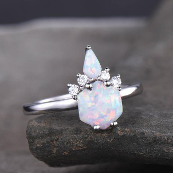 Unique Opal Ring Crown Ring Engagement Ring Bridal Ring Promise Ring