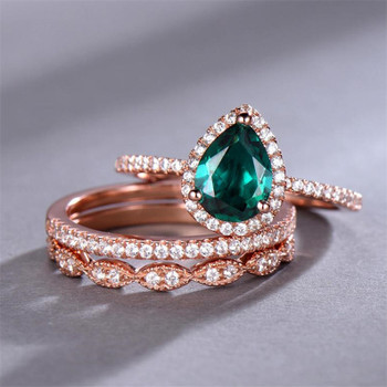 Emerald Wedding Ring Set 6*8mm Pear Cut Engagement Ring Half Eternity Bridal Band