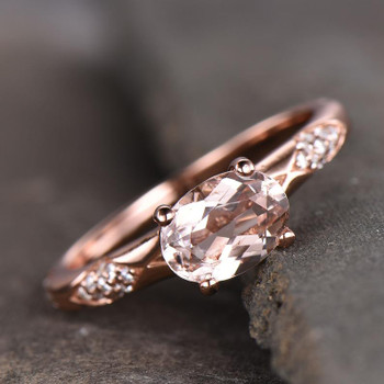 Rose Gold Morganite Engagement Ring 6*8mm Oval Cut Sterling Silver Wedding Ring