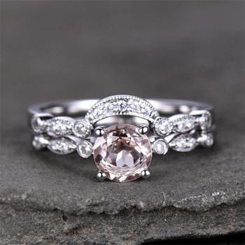 Morganite Bridal Set 6.5mm Round Solitaire Engagement Ring Wedding Band