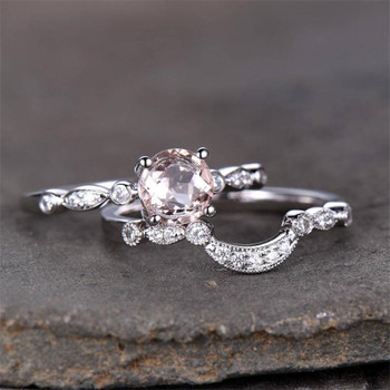 Morganite Bridal Set 6.5mm Round Solitaire Engagement Ring Wedding Band