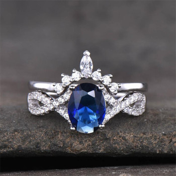 Sapphire Wedding Set Oval Blue Engagement Ring Twist Band Crown Matching Ring