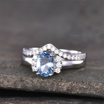 Blue Topaz Wedding Ring Set Oval Engagement Ring Curved Stacking Band