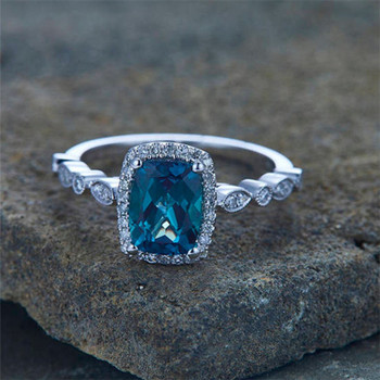 Alexandrite Ring  Engagement Ring CZ Wedding Band 6*8mm Cushion Cut Promise Ring