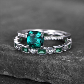 Sterling Silver Ring Set Cushoin Cut Green Emerald Engagement Ring Wedding Ring