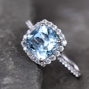 Blue Topaz Engagement Ring 8mm Cushion Cut Blue Gemstone CZ Promise Ring