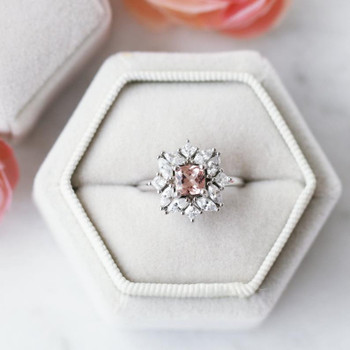 Floral Morganite Ring Sterling Silver Ring Morganite Ring Wedding Ring