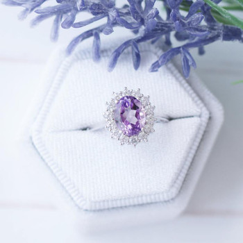 Oval Amethyst Ring Sterling Silver Ring Amethyst Ring Halo Anniversary Ring